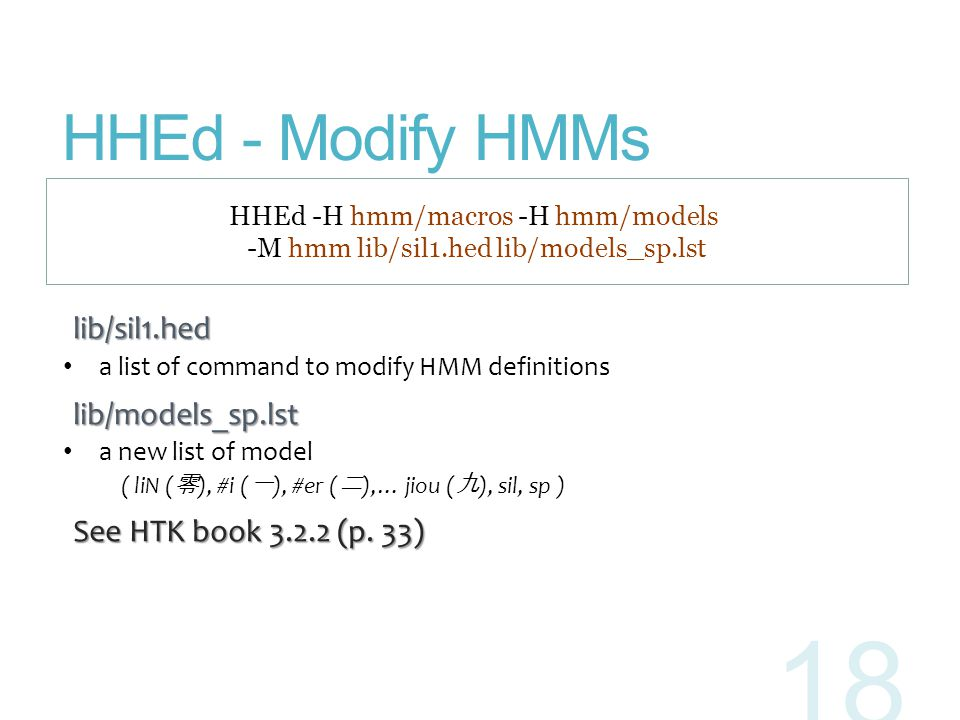 HHEd - Modify HMMs lib/sil1.hed lib/models_sp.lst