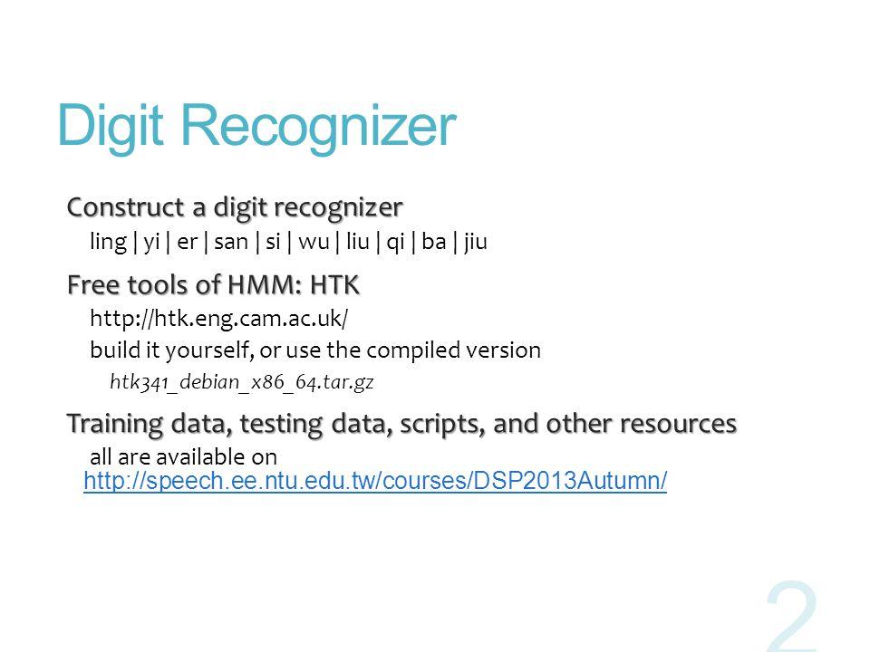 Digit Recognizer Construct a digit recognizer Free tools of HMM: HTK