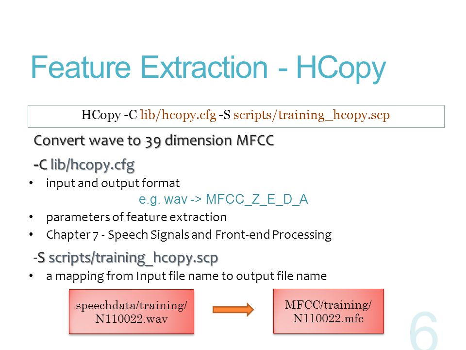 Feature Extraction - HCopy