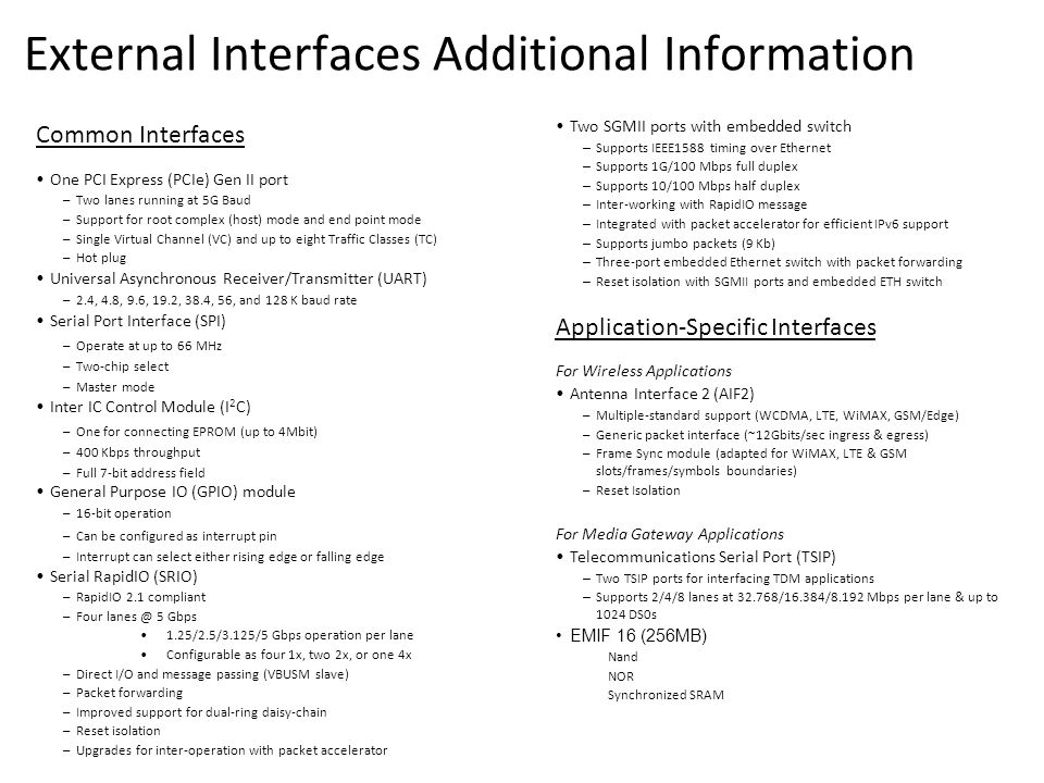 External Interfaces Additional Information