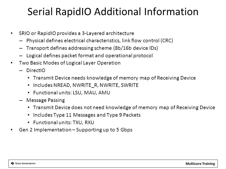 Serial RapidIO Additional Information