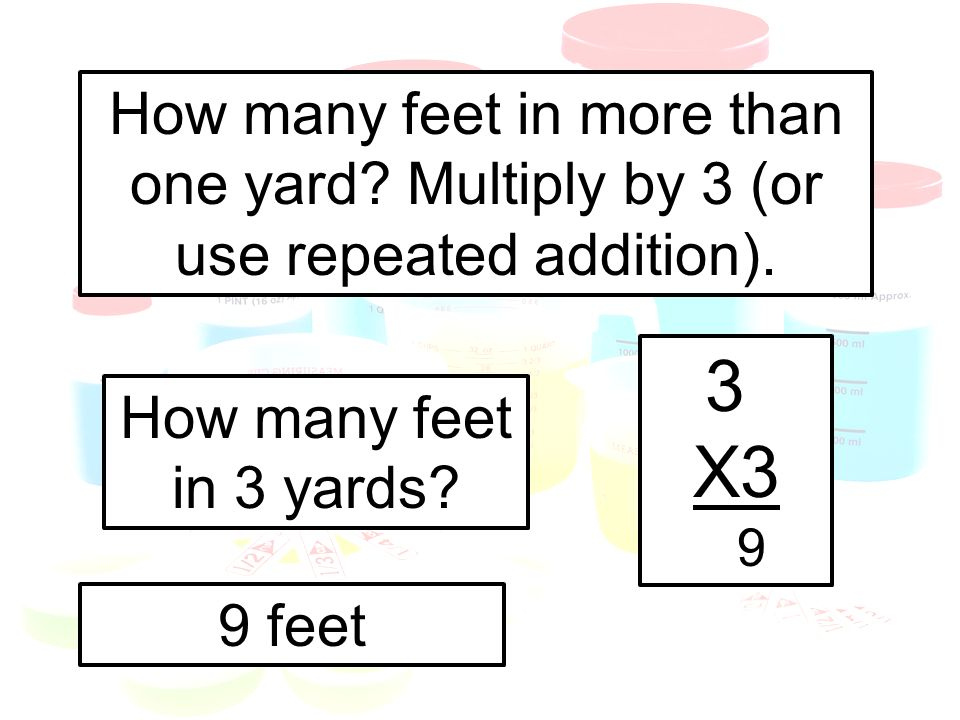 How many feet in more than one yard