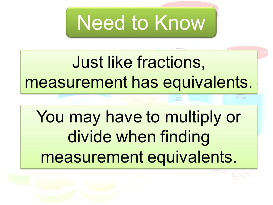Just like fractions, measurement has equivalents.