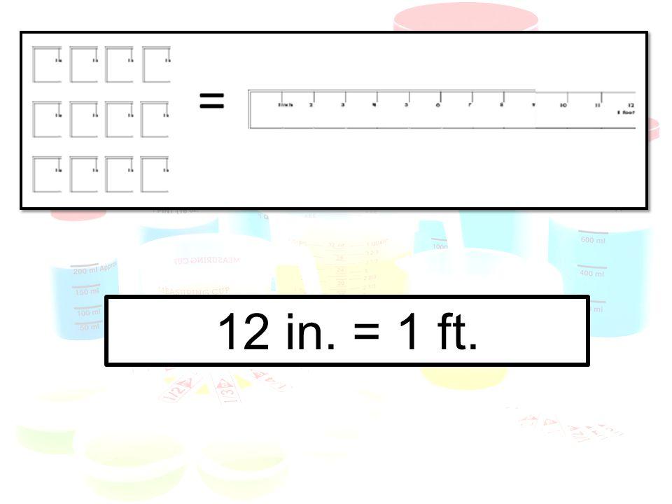 12 in. = 1 ft.