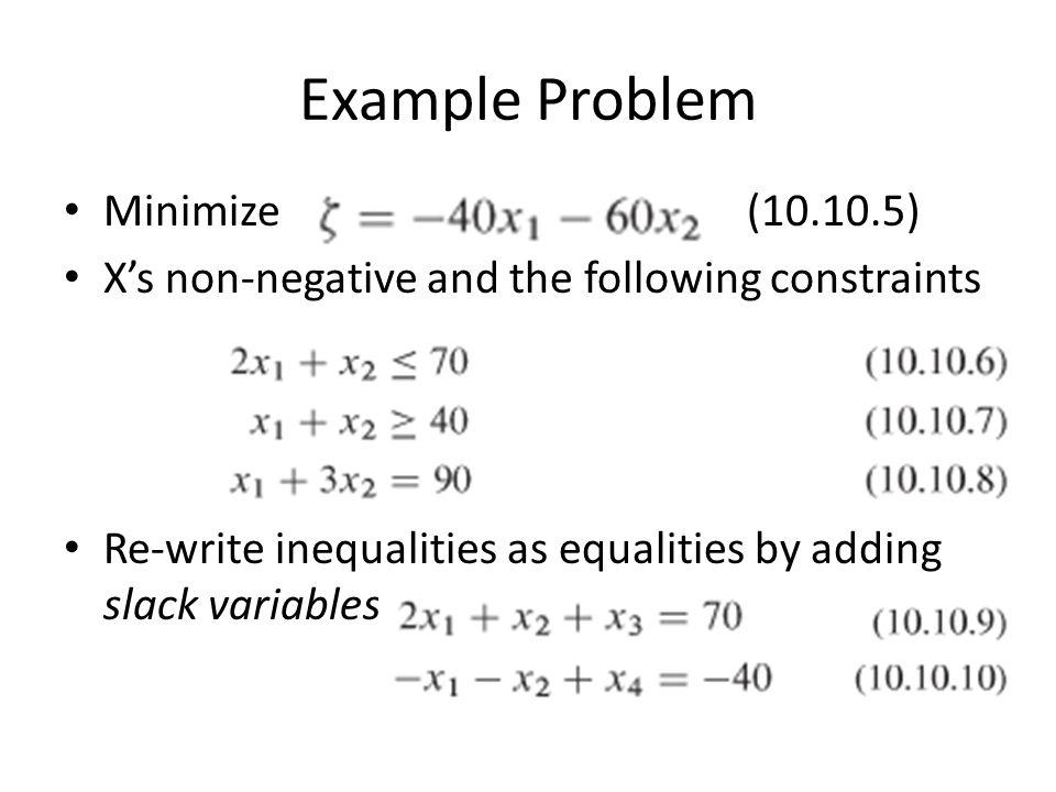 Example Problem Minimize (10.10.5)