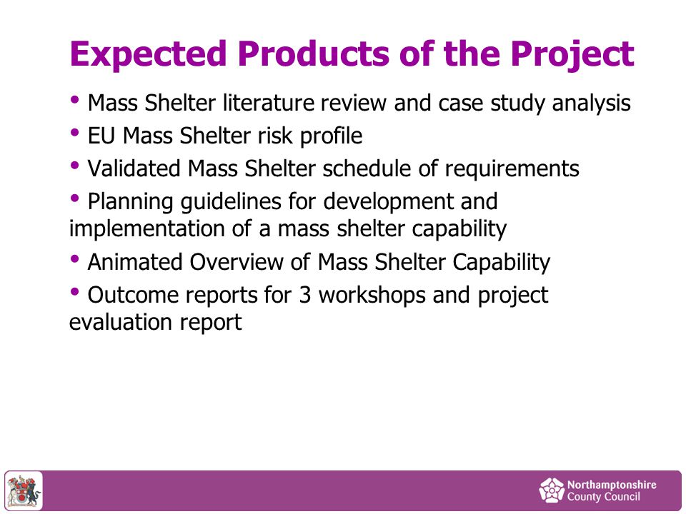 Expected Products of the Project