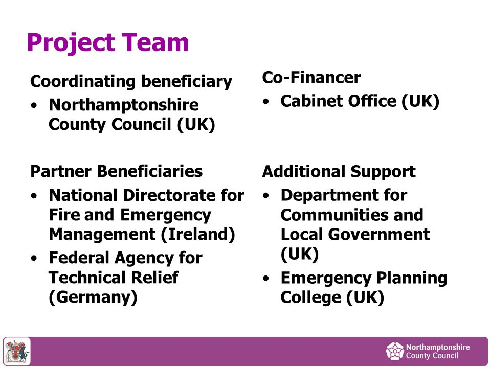 Project Team Co-Financer Coordinating beneficiary Cabinet Office (UK)
