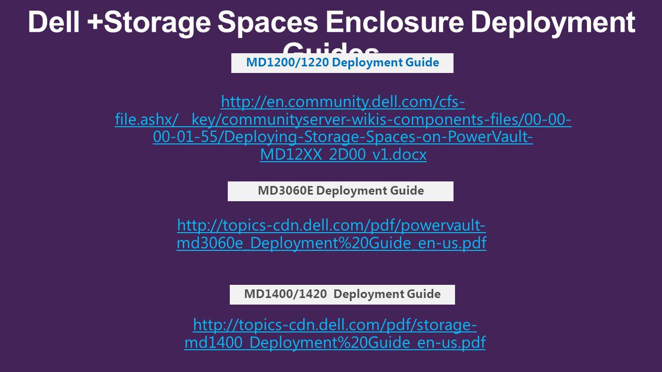 Dell +Storage Spaces Enclosure Deployment Guides