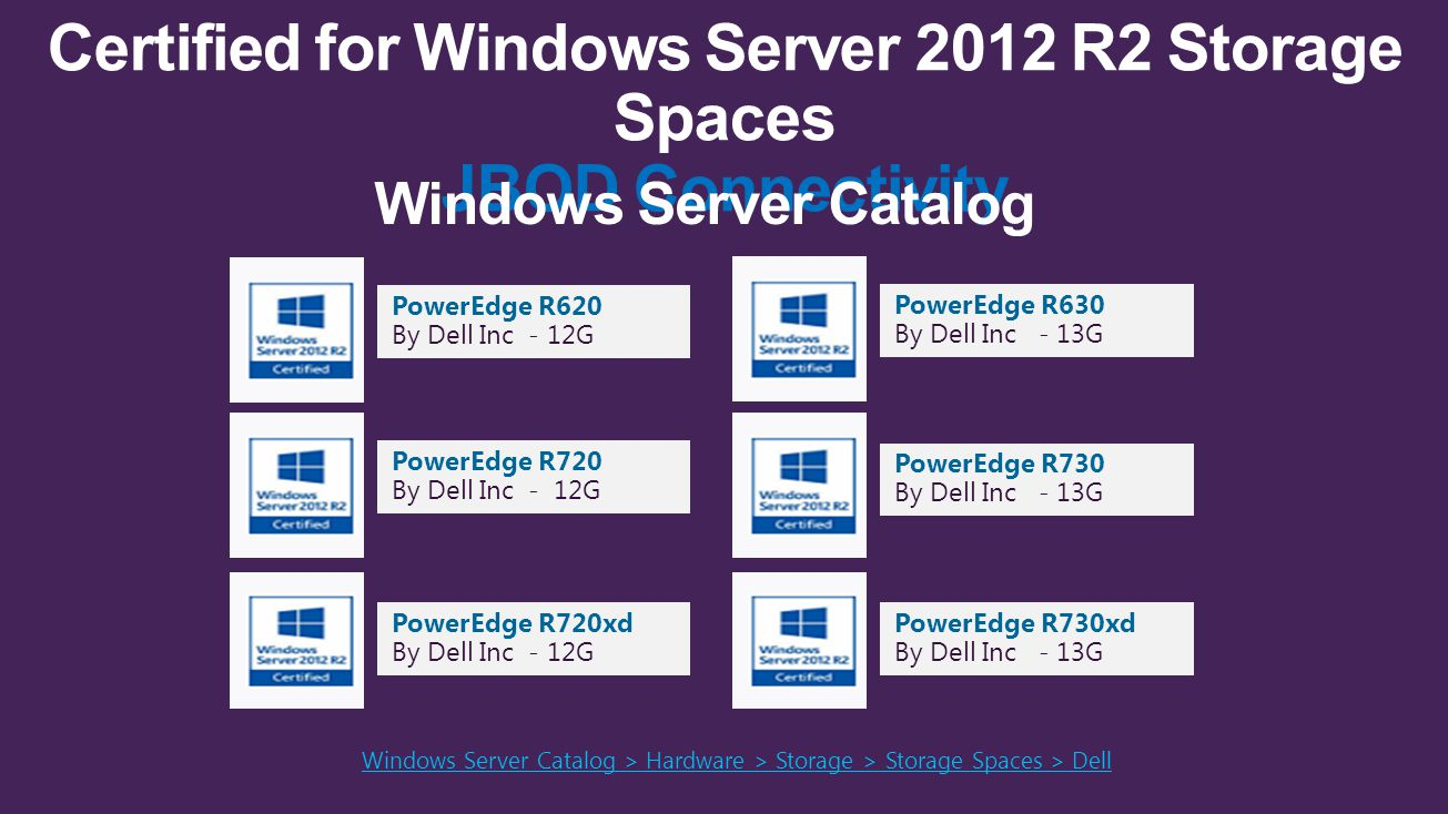 Certified for Windows Server 2012 R2 Storage Spaces JBOD Connectivity