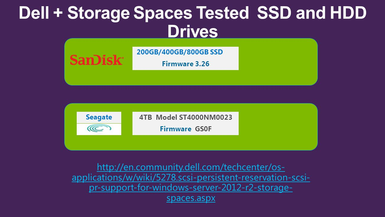 Dell + Storage Spaces Tested SSD and HDD Drives