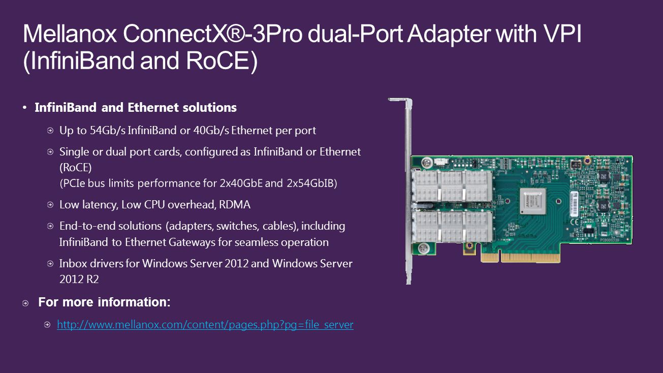 Mellanox ConnectX®-3Pro dual-Port Adapter with VPI (InfiniBand and RoCE)