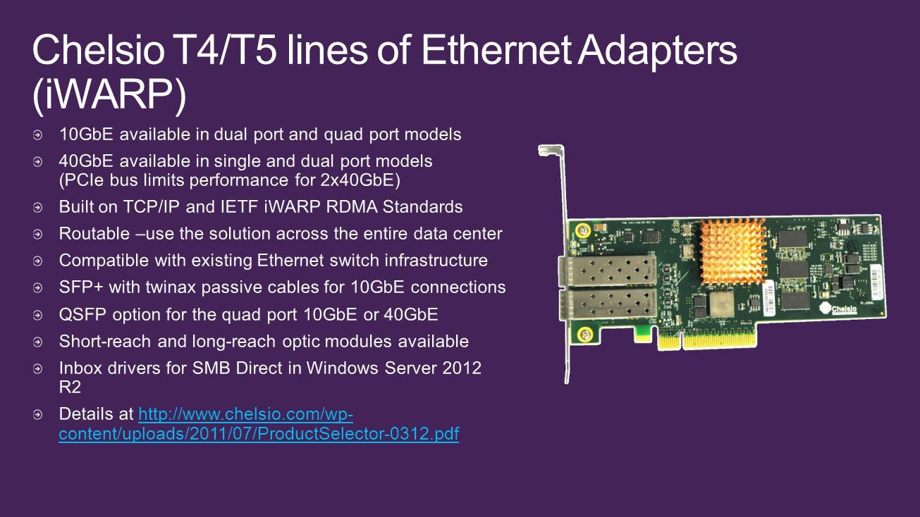 Chelsio T4/T5 lines of Ethernet Adapters (iWARP)