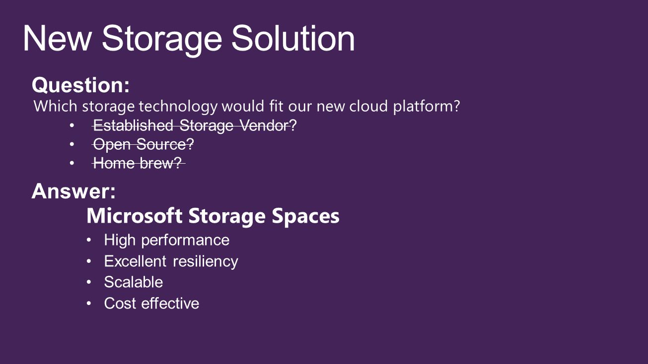 New Storage Solution Question: Answer: Microsoft Storage Spaces