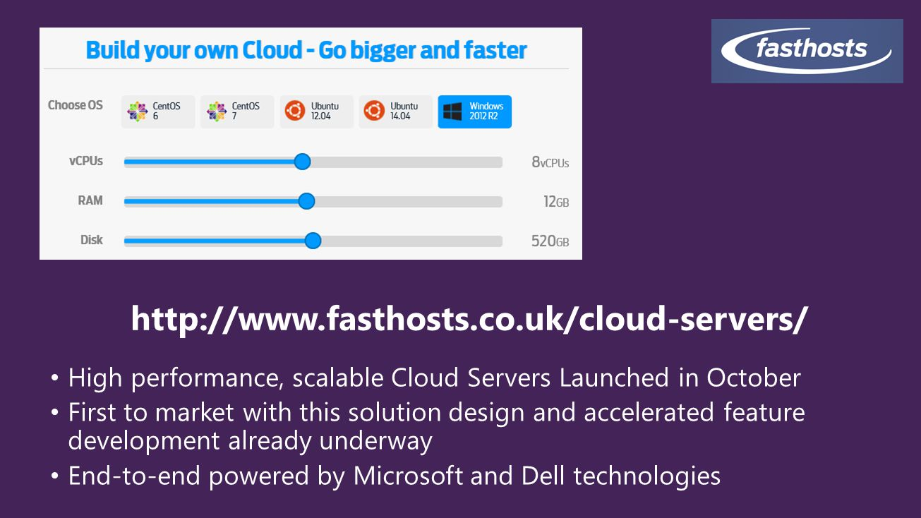 4/11/2017 http://www.fasthosts.co.uk/cloud-servers/ High performance, scalable Cloud Servers Launched in October.
