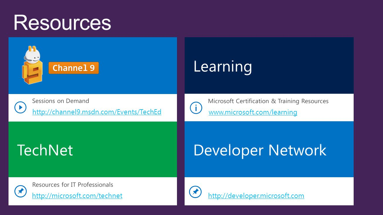 Resources Learning TechNet Developer Network