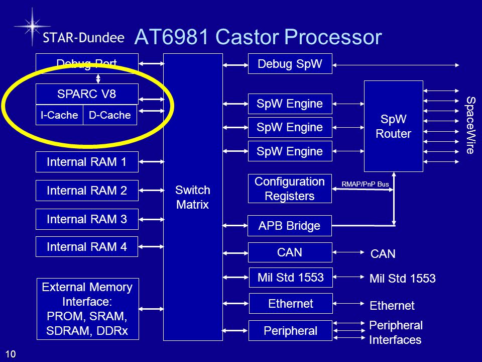 AT6981 Castor Processor SpW Router SpaceWire Configuration Registers