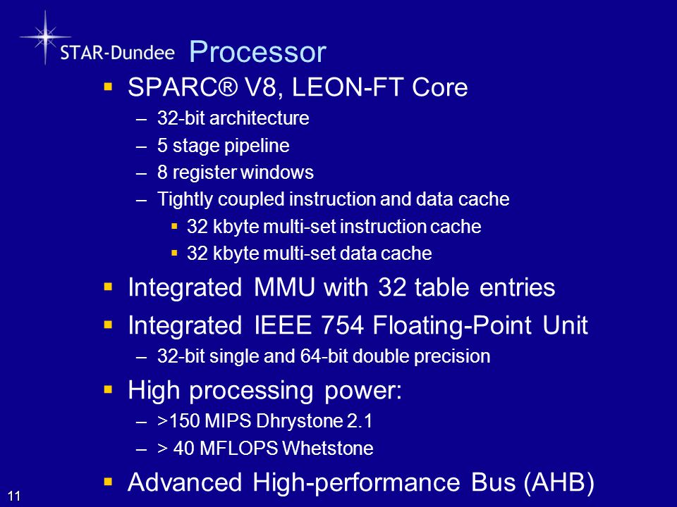 Processor SPARC® V8, LEON-FT Core Integrated MMU with 32 table entries