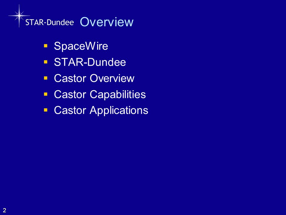 Overview SpaceWire STAR-Dundee Castor Overview Castor Capabilities