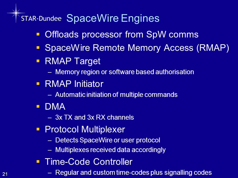 SpaceWire Engines Offloads processor from SpW comms