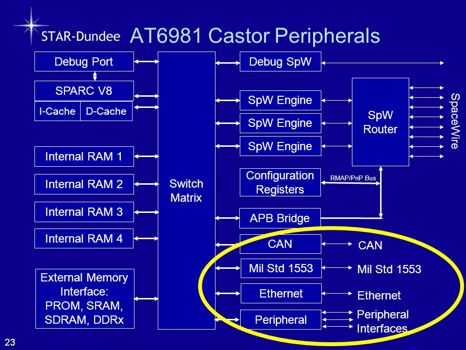 AT6981 Castor Peripherals SpW Router SpaceWire Configuration Registers