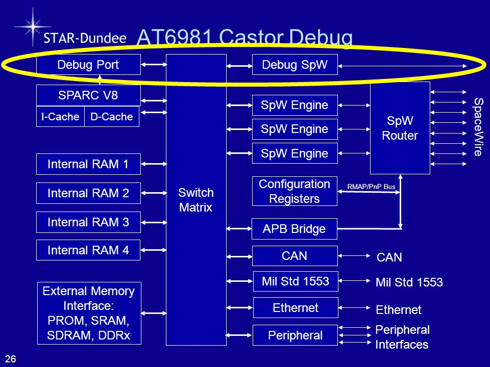 AT6981 Castor Debug SpW Router SpaceWire Configuration Registers