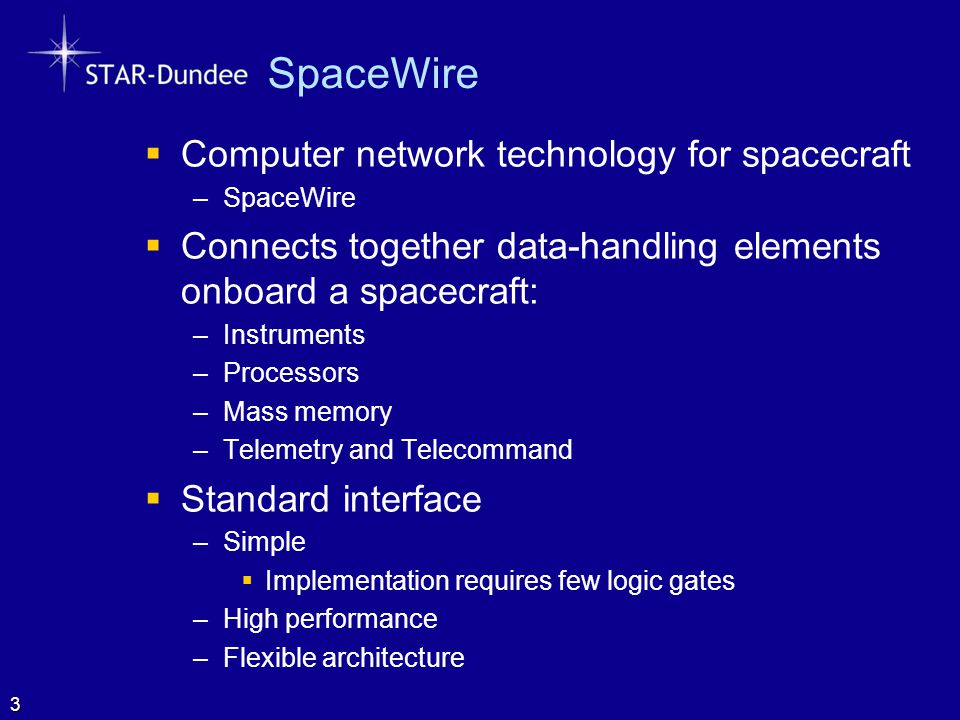 SpaceWire Computer network technology for spacecraft