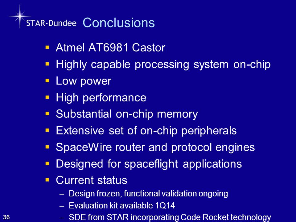 Conclusions Atmel AT6981 Castor
