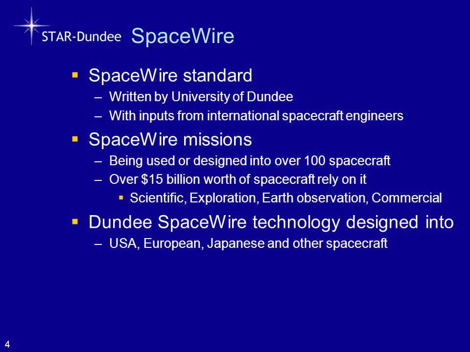 SpaceWire SpaceWire standard SpaceWire missions