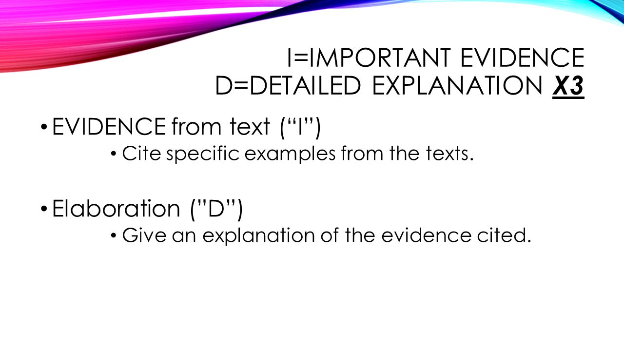 I=important evidence d=Detailed explanation X3