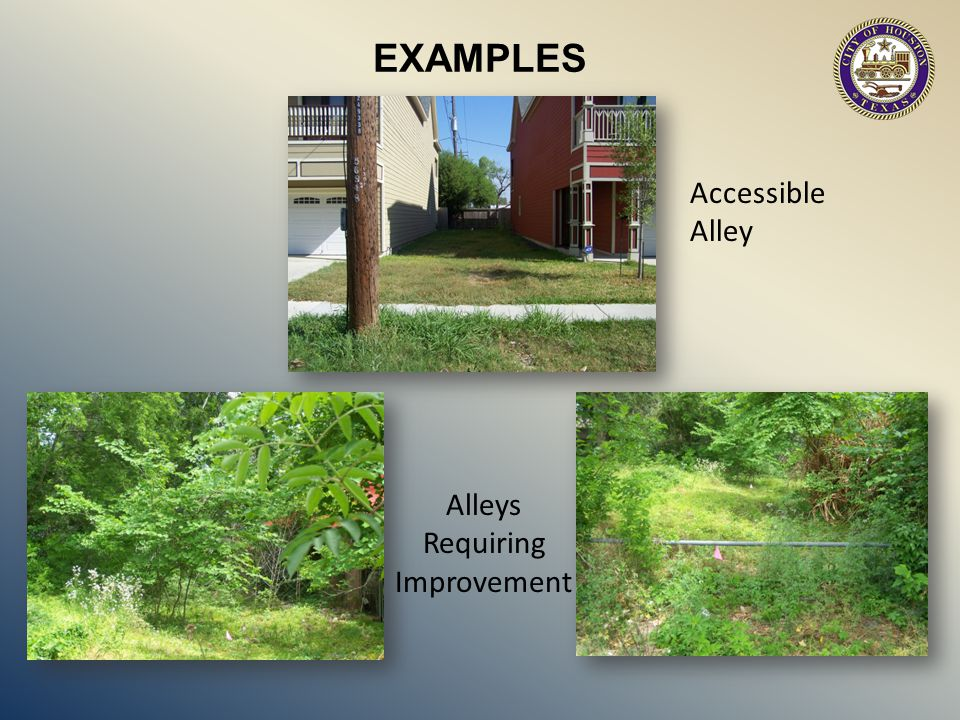 Alleys Requiring Improvement