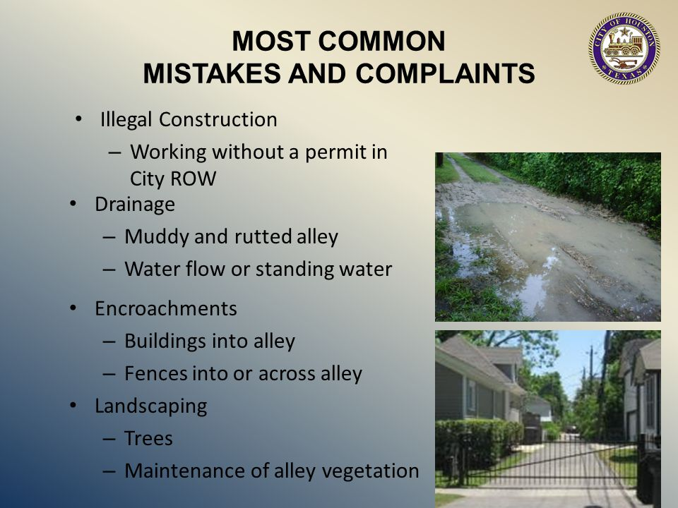 MISTAKES AND COMPLAINTS