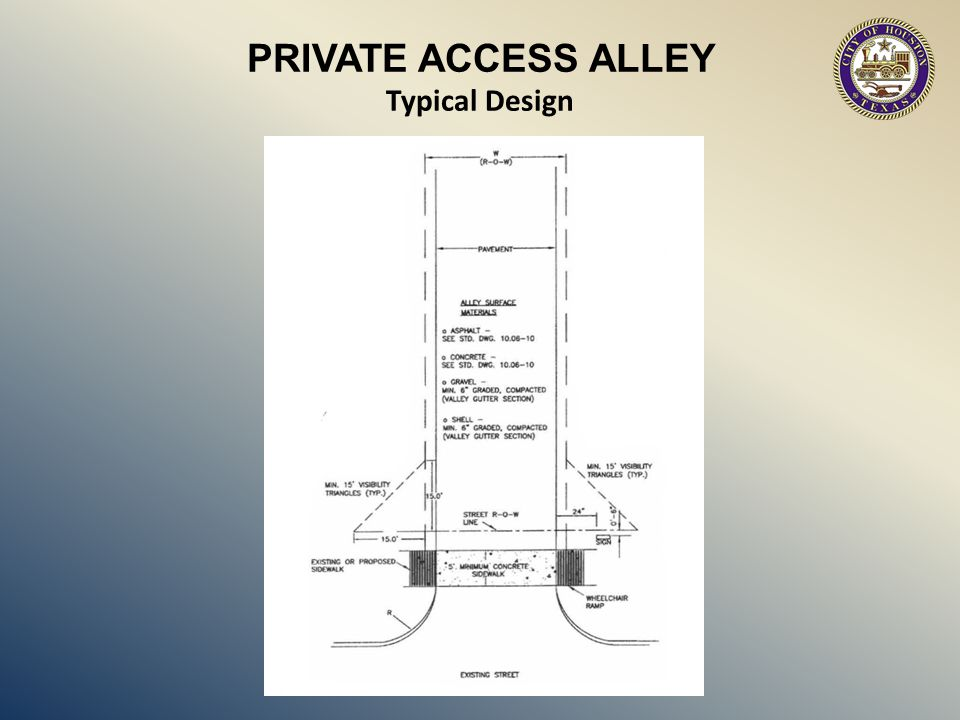 PRIVATE ACCESS ALLEY Typical Design