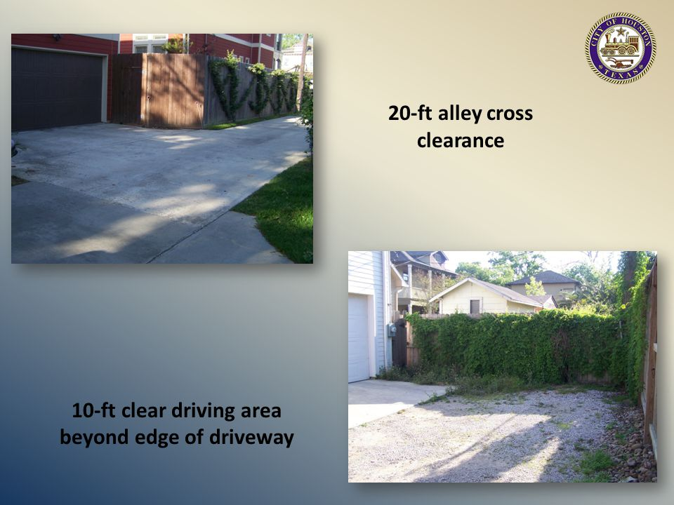 20-ft alley cross clearance