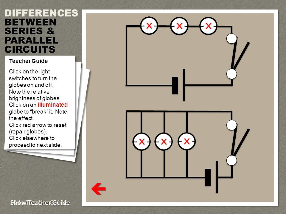  DIFFERENCES BETWEEN SERIES & PARALLEL CIRCUITS Show Teacher Guide
