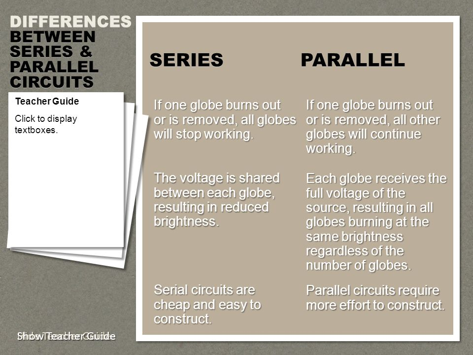 SERIES PARALLEL DIFFERENCES BETWEEN SERIES & PARALLEL CIRCUITS