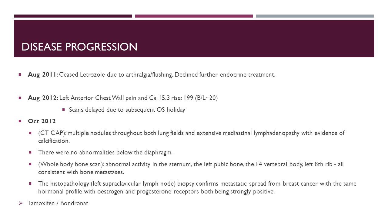Disease Progression Aug 2011: Ceased Letrozole due to arthralgia/flushing. Declined further endocrine treatment.