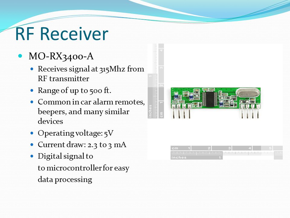 RF Receiver MO-RX3400-A Receives signal at 315Mhz from RF transmitter
