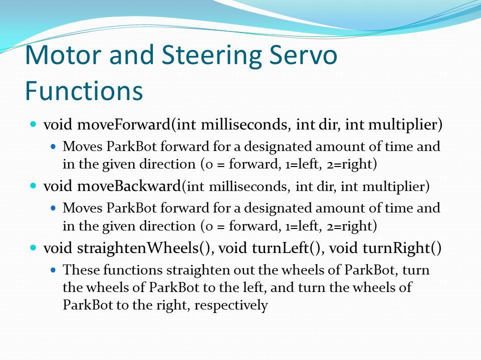 Motor and Steering Servo Functions