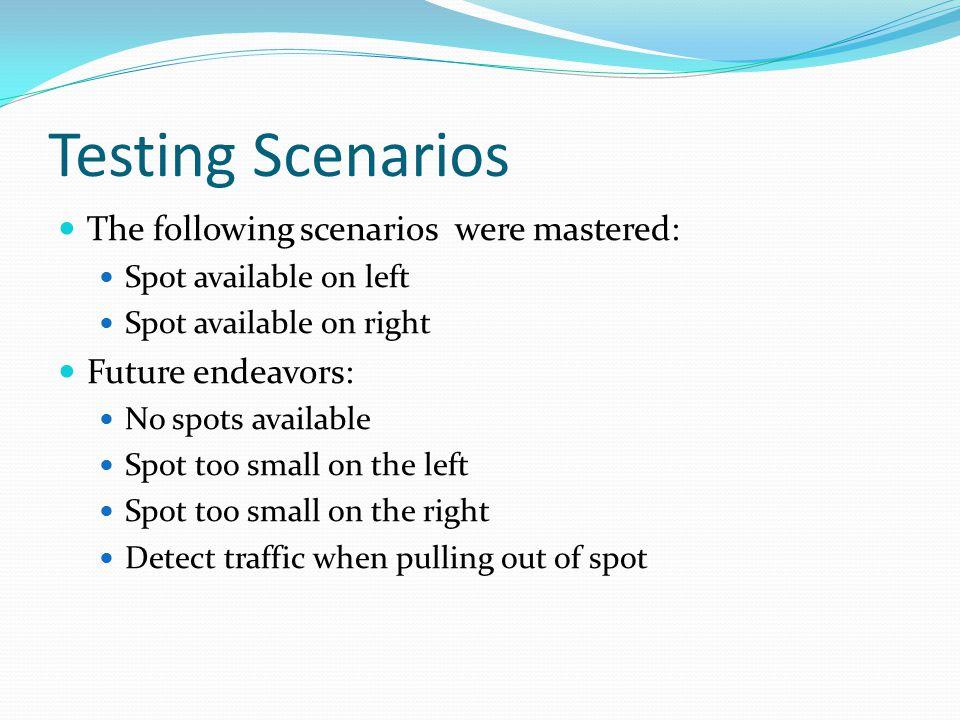 Testing Scenarios The following scenarios were mastered: