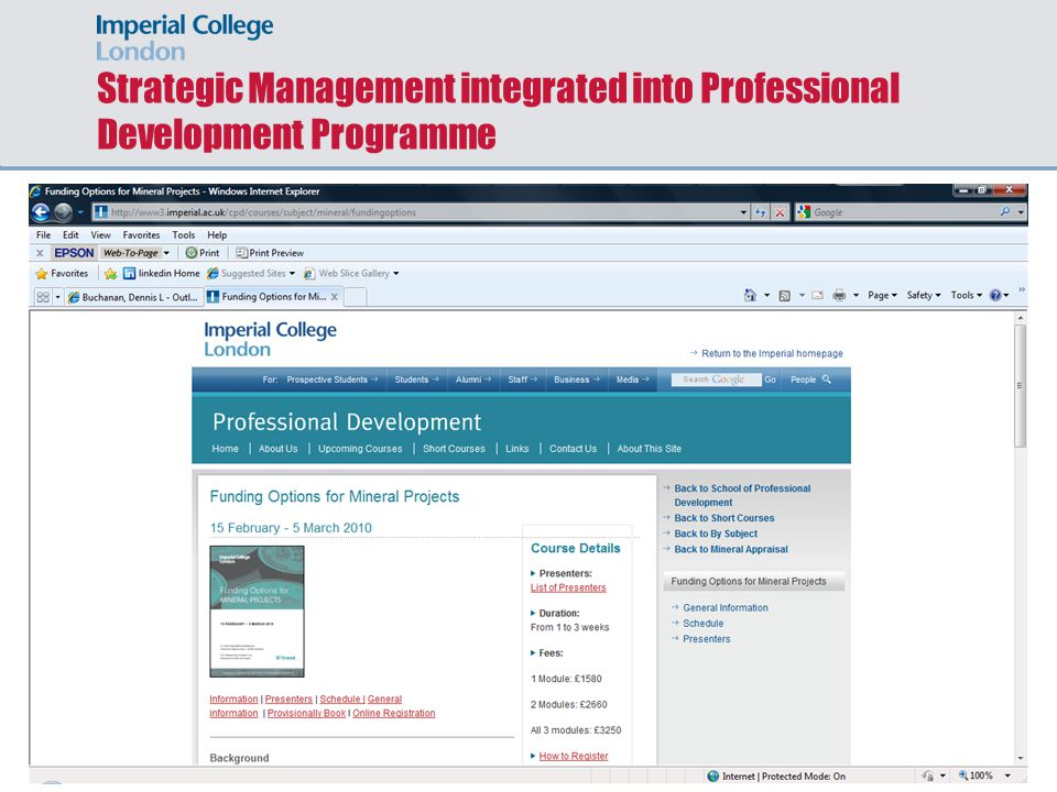 Strategic Management integrated into Professional Development Programme