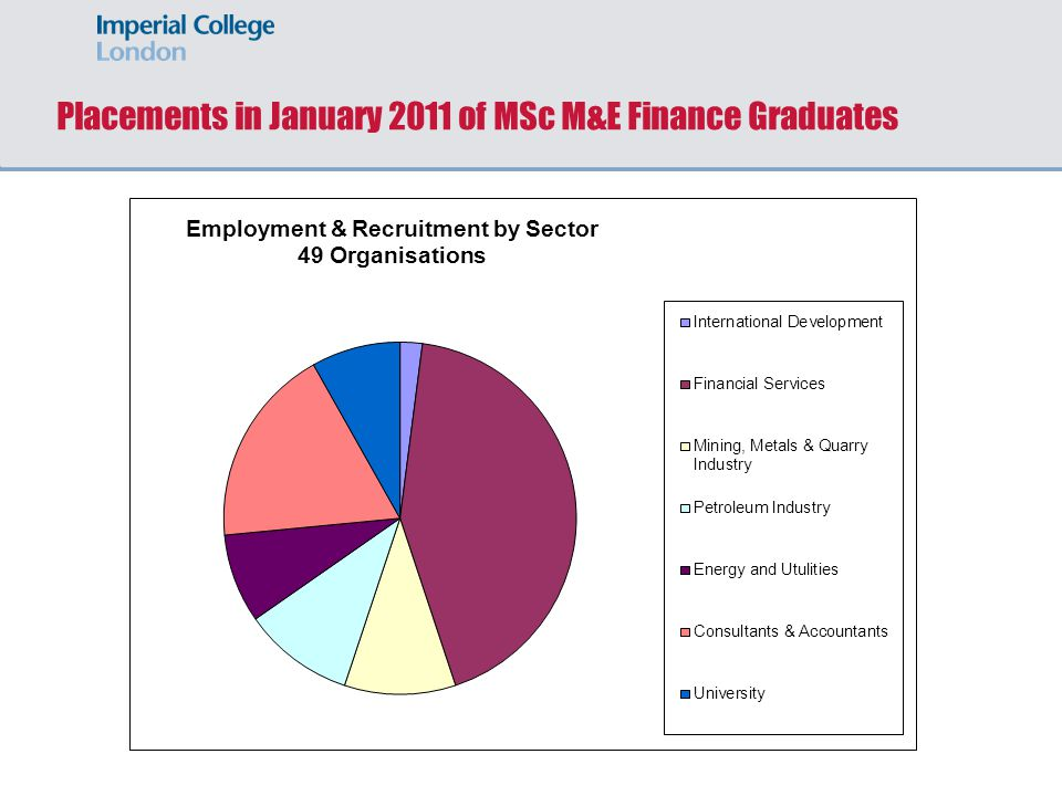 Placements in January 2011 of MSc M&E Finance Graduates