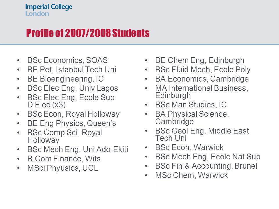 Profile of 2007/2008 Students BSc Economics, SOAS