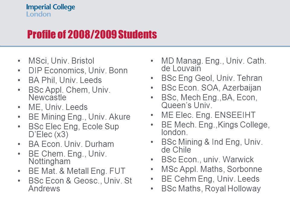 Profile of 2008/2009 Students MSci, Univ. Bristol