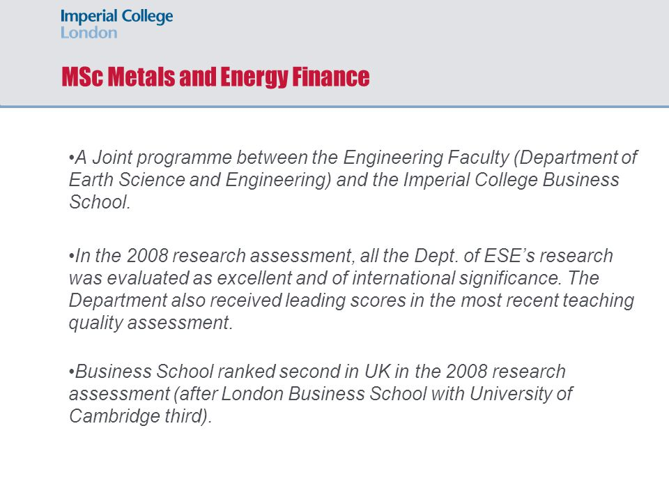 MSc Metals and Energy Finance