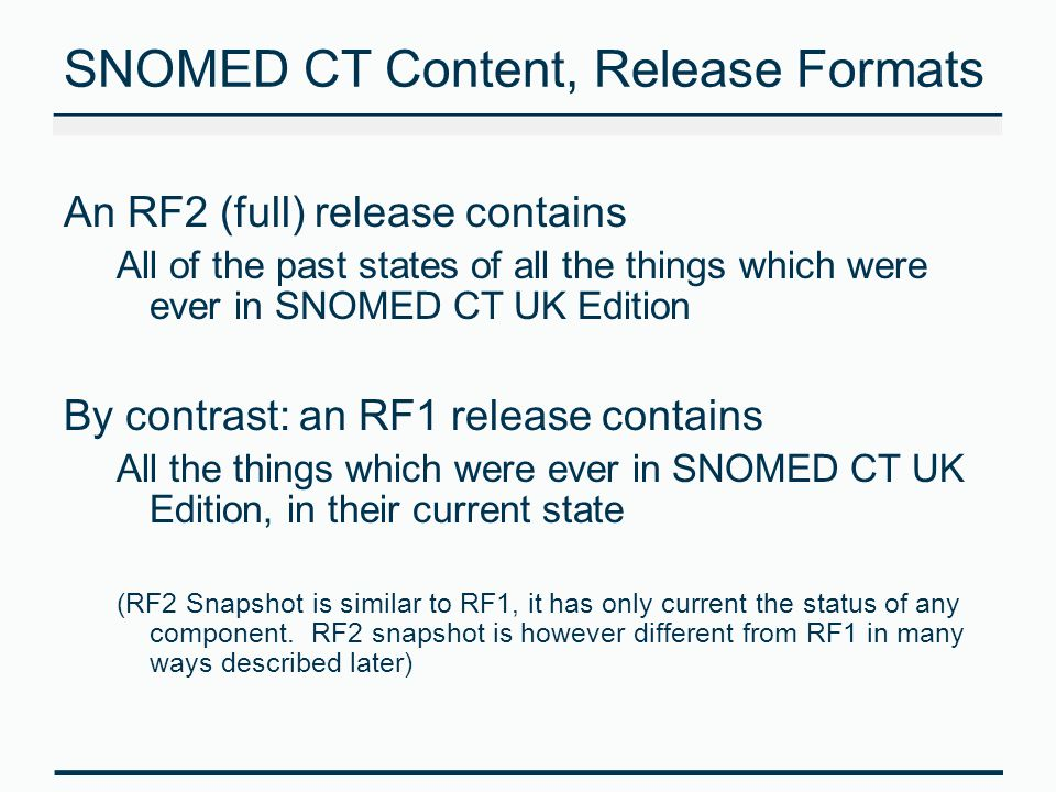 SNOMED CT Content, Release Formats