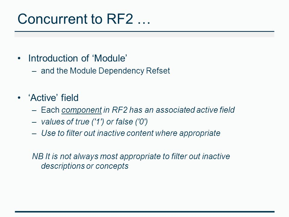 Concurrent to RF2 … Introduction of 'Module' 'Active' field