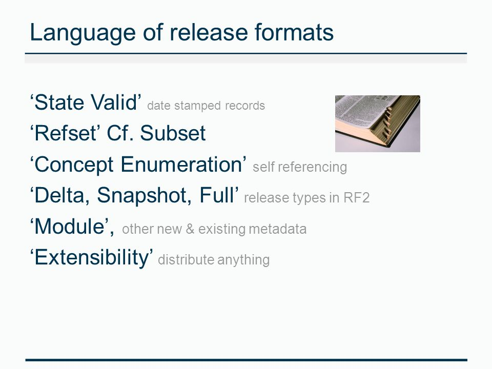 Language of release formats