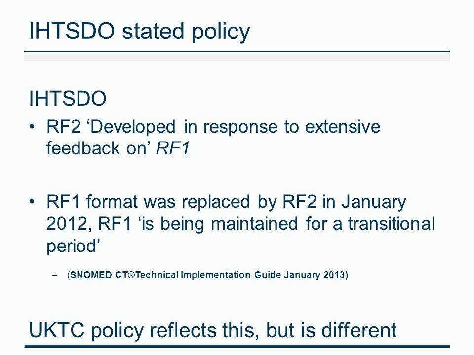 IHTSDO stated policy IHTSDO