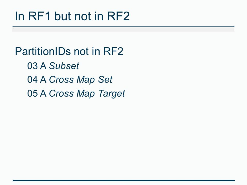 In RF1 but not in RF2 PartitionIDs not in RF2 03 A Subset