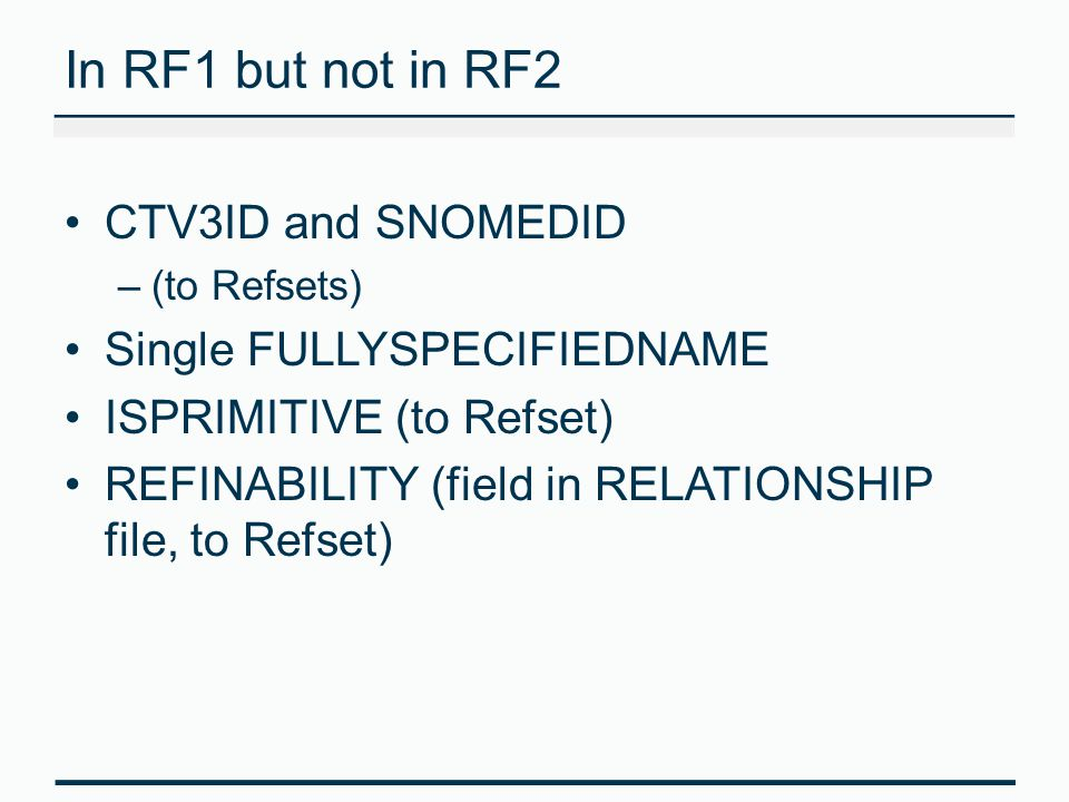 In RF1 but not in RF2 CTV3ID and SNOMEDID Single FULLYSPECIFIEDNAME